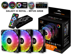 XIGMATEK GALAXY III ROYAL – BR120 ARGB (EN46119) HUB FAN (PACK x3, CONTROLLER, POWER HUB)