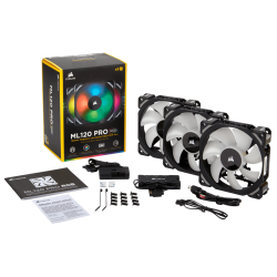 Quạt Case Corsair ML120 RGB Kit 3FAN + Lighting Node PRO (CO-9050076-WW)