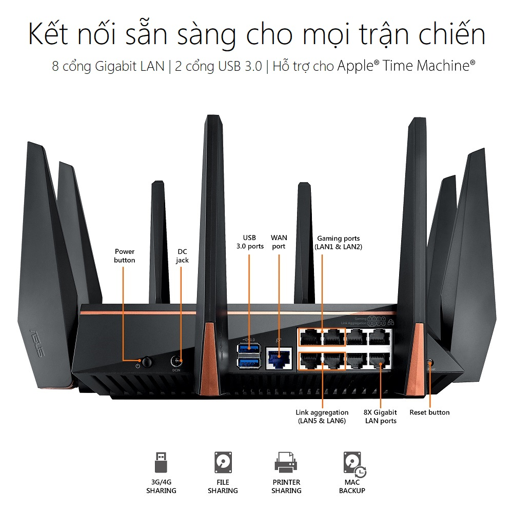 Thiết bị mạng ASUS ROG RAPTURE GT-AC5300 GAMING WIFI ROUTER - connectivity - Phong Vũ