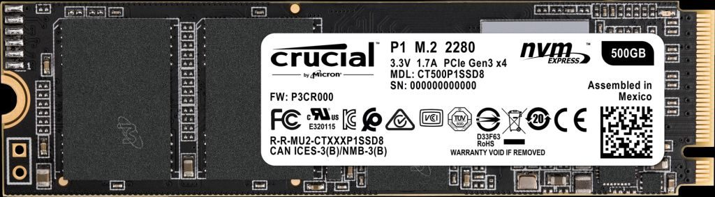 ổcứng SSD Crucial P1 500GB M.2 2280 NVMe